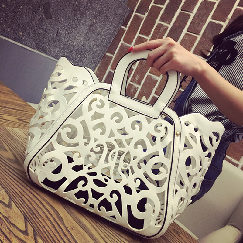 luxury handbag white women beach bag 2019 fashion hollow handbags bags designer ladies hand cross
