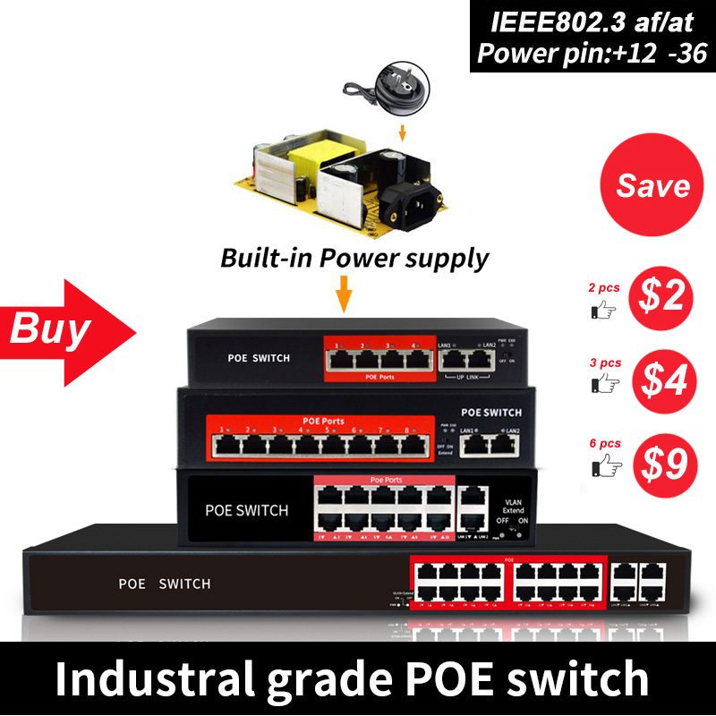 48V Network POE Switch Ethernet With 8 10/100Mbps Ports IEEE 802.3 Af/at Suitable For IP Camera/Wireless AP/CCTV Camera System