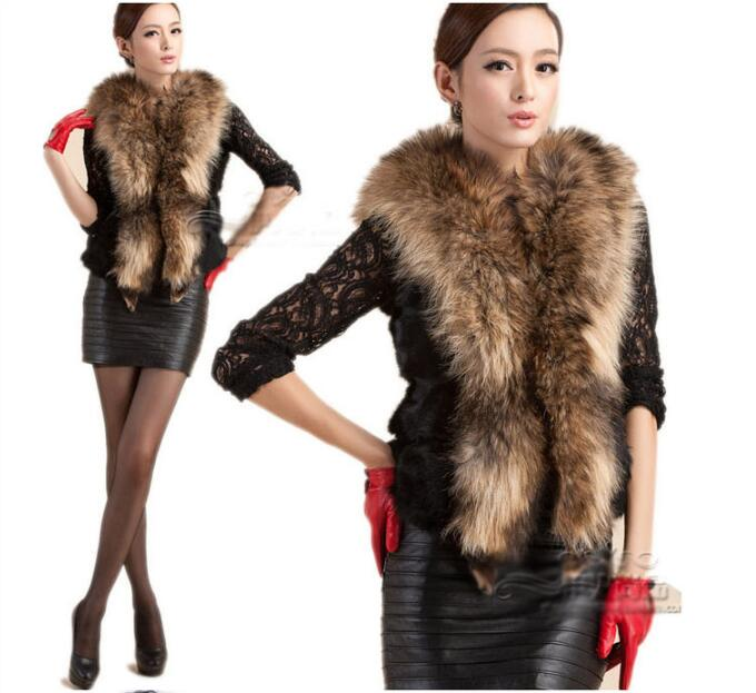 Europe and the United States new 2017 rabbit fur vest short hair collar ladies large size vest ...