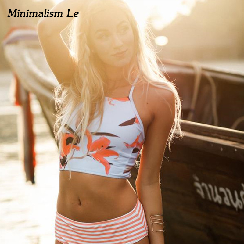 Minimalism Le <font><b>Sexy</b></font> Striped Floral <font><b>Bikini</b></font> Set <font><b>2018</b></font> <font><b>Bandage</b></font> Print <font><b>Women</b></font> <font><b>Swimwear</b></font> <font><b>Bikinis</b></font> Girl's Bathing Suit Monokini <font><b>Swimsuit</b></font> image