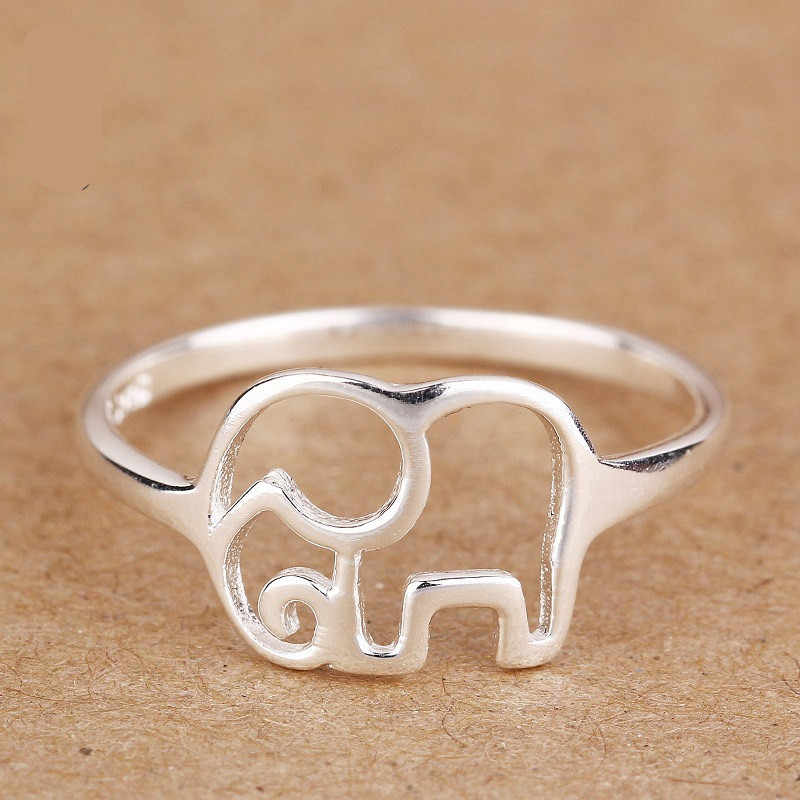 925 Sterling Silver Rings For Women Elephant Wedding Ring Size 6 7 8 9# Engagement Jewelry Accessories Bague Femme Anilos Gifts