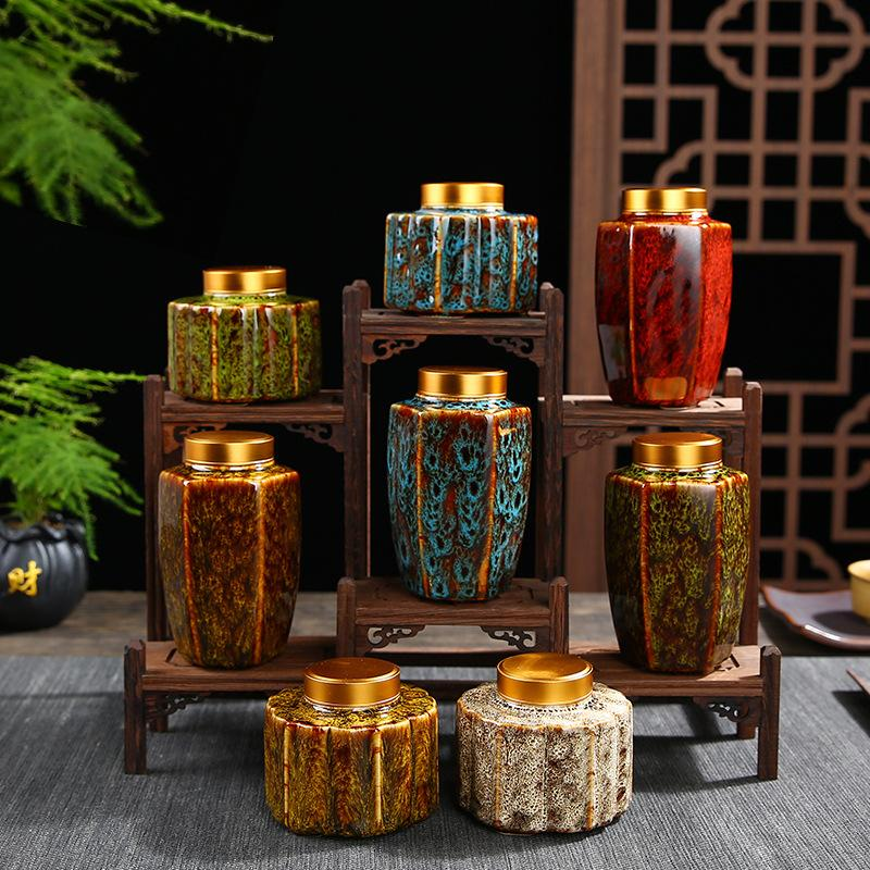 Vintage Chinese Tea Caddies Handprinted Green Black Tea Box Caddies Ceramics Tea Storage Canday Coffee Powder Tea Container