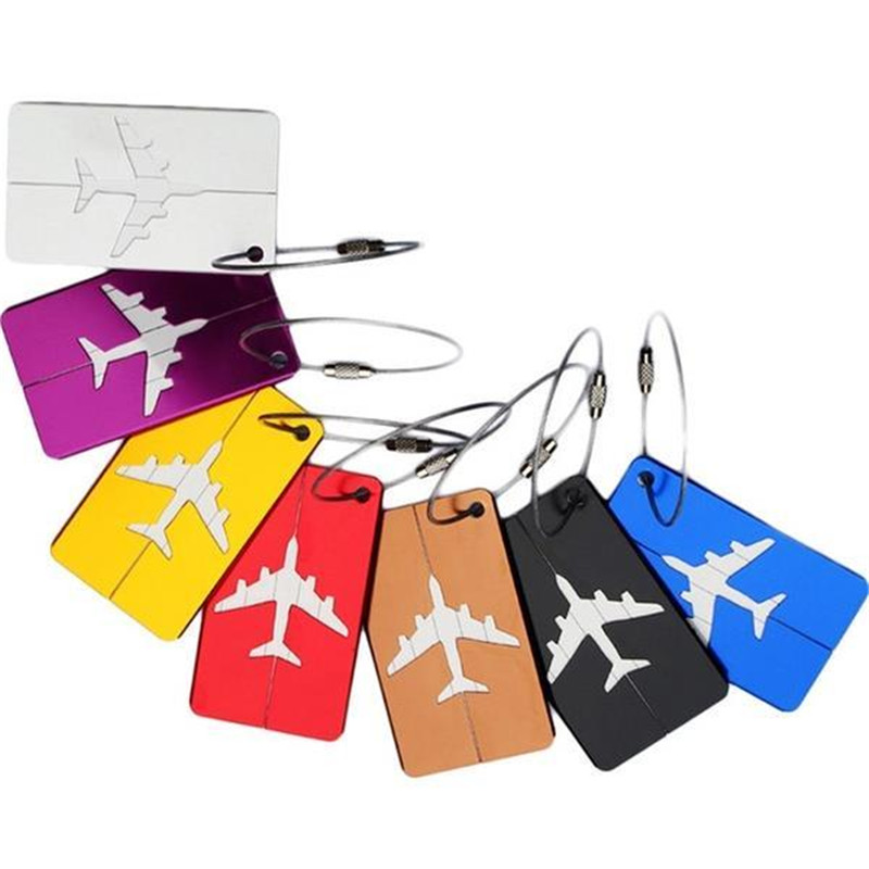 New Fashion Baggage Tag Aluminium Alloy Traveling Luggage Tags Suitcase Name Travel Label Identifier Bag Card 6 Colors