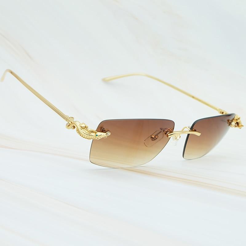 De gafas de sol de lujo Carter cocodrilo estilo limitada de sol cristal elegante para hombre Gafas de Metal exquisita de oro gafas para las mujeres