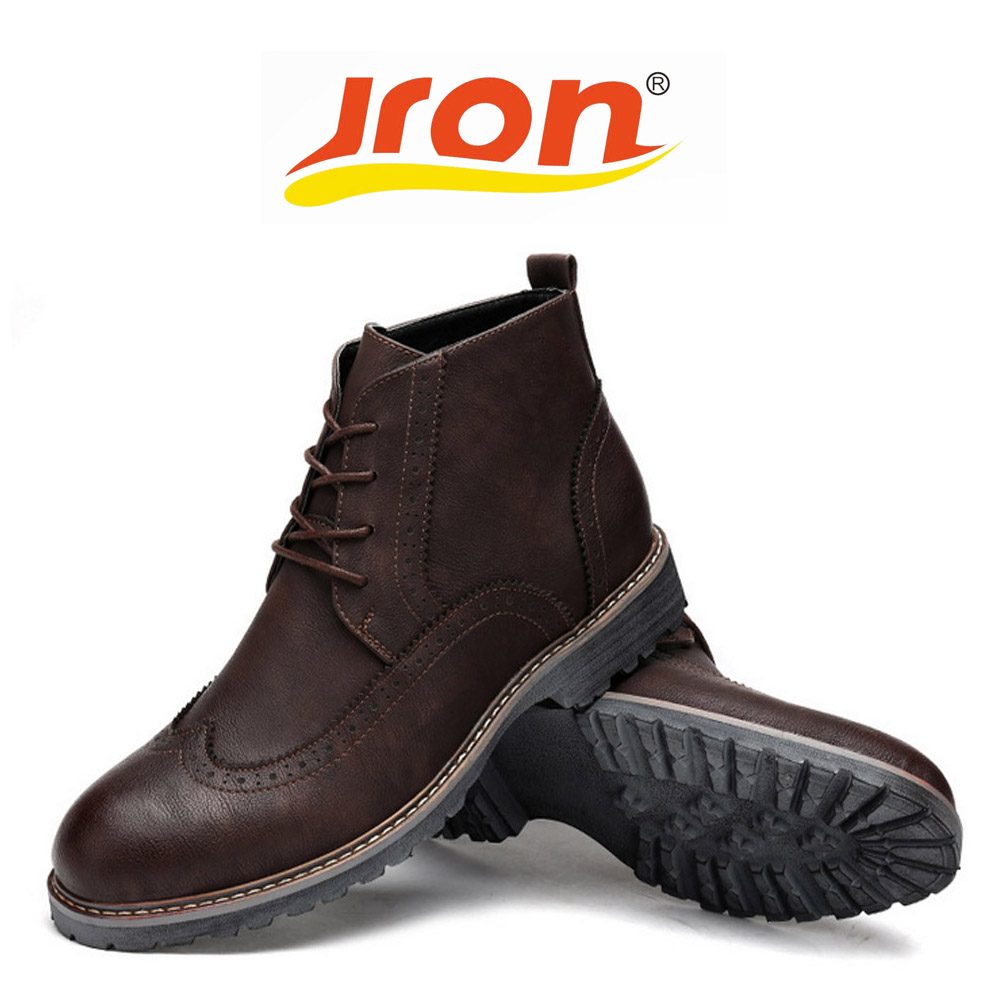 Jron Waterproof Men Boots Genuine Pigskin Leather Ankle Autumn Winter Rubber Sole Dress Boots Two Colors Available стоимость
