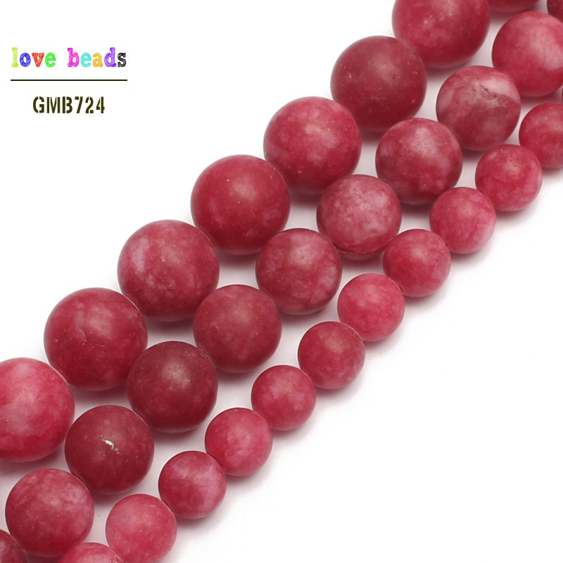 Polish Matte Red Stone Round Loose Beads For Jewelry Making Diy Bracelet Necklace 6/8/10mm Pick Size 15inches The Latest Fashion Beads & Jewelry Making