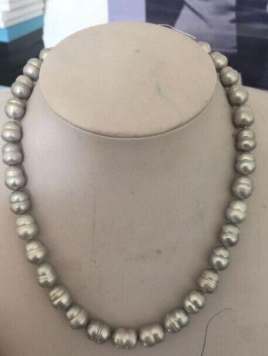 100% Venta completo impresionante enorme 12-13mm plata gris barroco tahitian collar de perlas de 18''