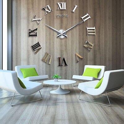 new diy 3d orologio da parete numeri romani di grandi dimensioni ...