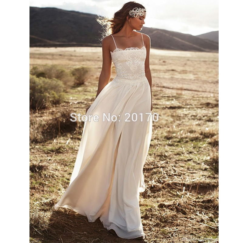 6c78e1b396 Vintage Bohemia Beach Wedding Dress 2017 Sexy Strapless Lace Vestido De  Noiva 2016 Summer Chiffon Boho Bridal Dresses