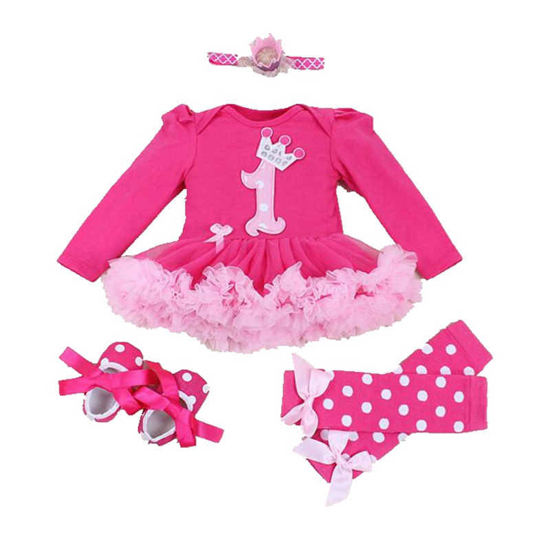Baby Rompers Clothes Dress 4pcs Infant Toddler Baby Girl Rompers Set Bebe Christmas Outfits Newborn Infant Party Dress Jumpsuit