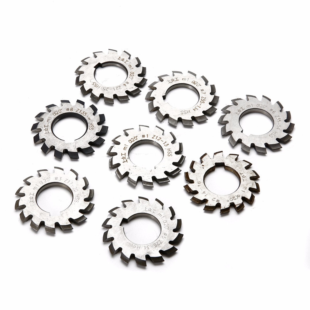 8pcs HSS Involute Gear Milling Cutters Set M1 PA20 20 Degree #1-8 Assortment Kit For Power Tools diameter 22mm m2 20 degree 2 involute module gear cutters hss high speed steel new machine tools accessories