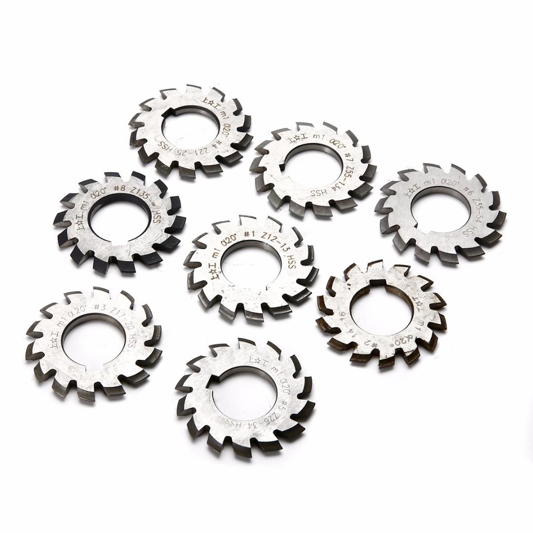 8pcs Hss Involute Gear Milling Cutters Set M1 Pa20 20