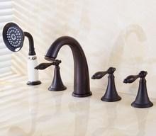 цена на Deck Mounted 5 Holes Bathtub Mixer Faucet Black Oil Rubbed Brass Widespread 3 Handle bathroom basin Faucet Set Handshower atf055