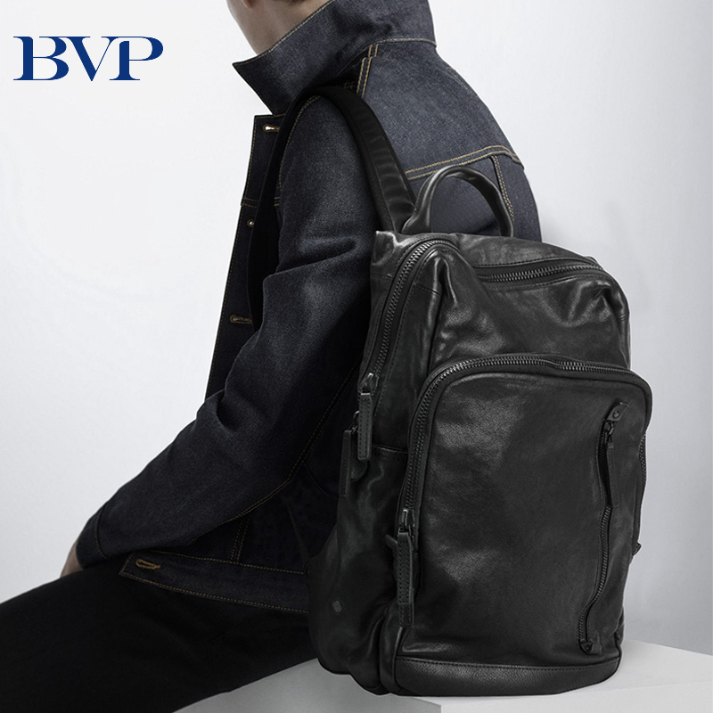 BVP Famous Brand Design Male Backpack Cow Leather & WaterProof Cloth Bag Pack 15