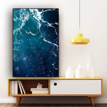 Abstract Waves Deep Blue Ocean Sea Wavy Canvas Painting Posters and Prints Nordic Style Wall Art Picture for Living Room Decor