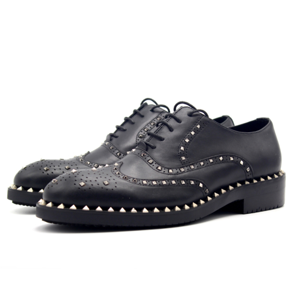 Autumn and winter oxford shoes for men Bullock rivets handmade cattle production of men's shoes zapatos hombre vestir