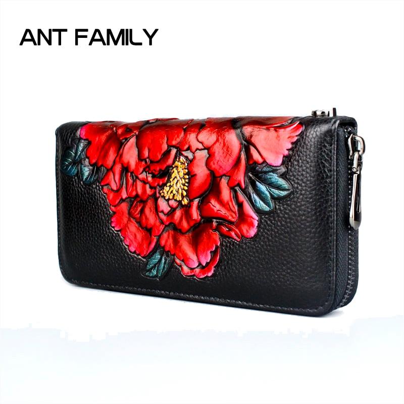 3D Embossing Genuine Leather Women Wallet Zipper Fashion Rose Long Wallet High Quality Purse Ladies Clutch Cowhide Female Wallet