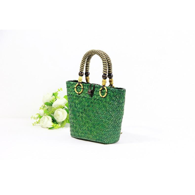 30x20CM 2017 New Thai Mini Handmade Straw Bag Retro Holiday Travel Beach Rattan Bag Bucket Type Handbag  A4189
