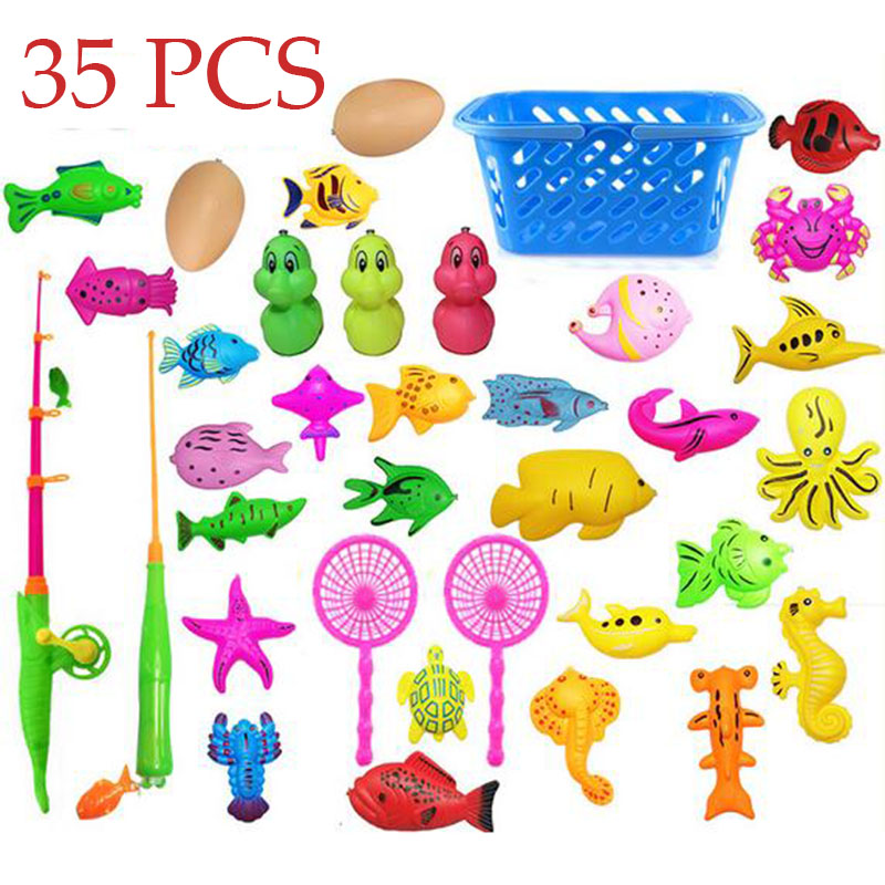 35 pcs Toddler Magnetic Fishing Pole Tools Bath Toys Game Summer outdoors indoor Fishing toy educational toy for Kids Baby