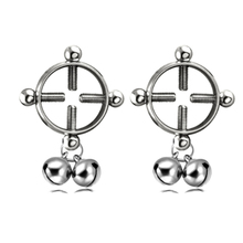 2PCS Silver Color Fake Dangle Nipple Rings Stainless Steel Bell Women Barbell Non Piercing Nipple Rings Adult Sexy Body Jewelry
