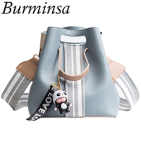 Burminsa Cut Bucket Shoulder Bags Small Wide Guitar Strap Girl Designer Handbag High Quality PU Leather