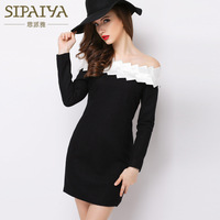 SIPAIYA 2017 OL Wear Strapless Bodycon Dress Women Long Sleeved Sexy Wool Mini Dress Black And