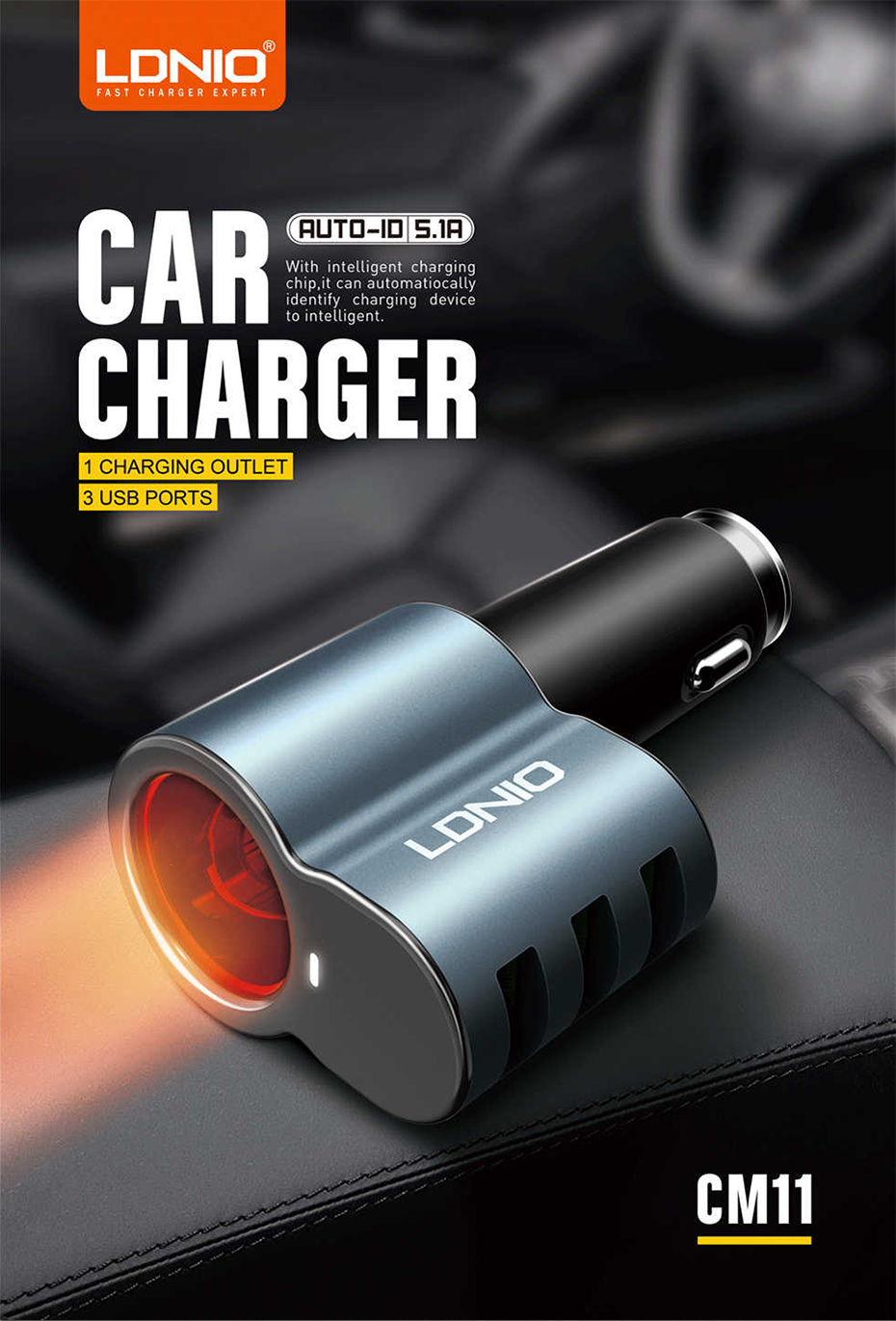 LDNIO Car charger with cigratte socket (1)