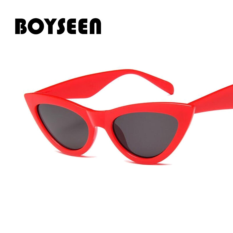 e4d211047f9 BOYSEEN cute sexy retro cat eye sunglasses women small black white 2018  triangle vintage sun glasses