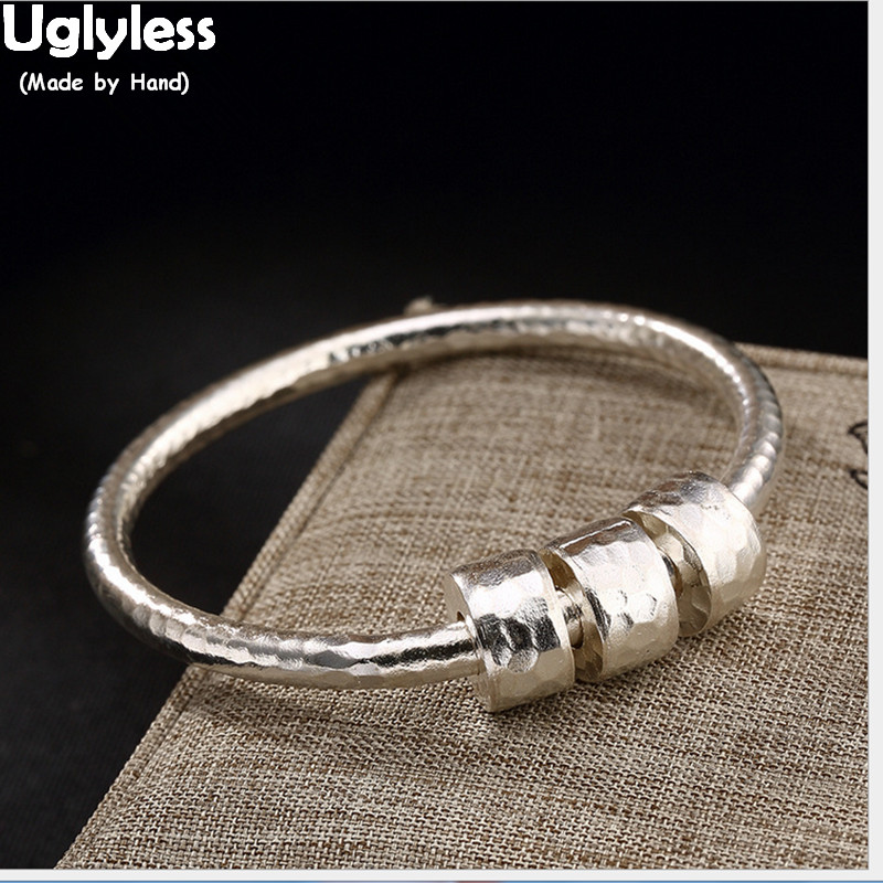 Uglyless Real S 925 Sterling Silver Bangles Women Lovely Beading Bangle Vintage Uneven Face Handmade Fine Jewelry Ethnic BijouxUglyless Real S 925 Sterling Silver Bangles Women Lovely Beading Bangle Vintage Uneven Face Handmade Fine Jewelry Ethnic Bijoux