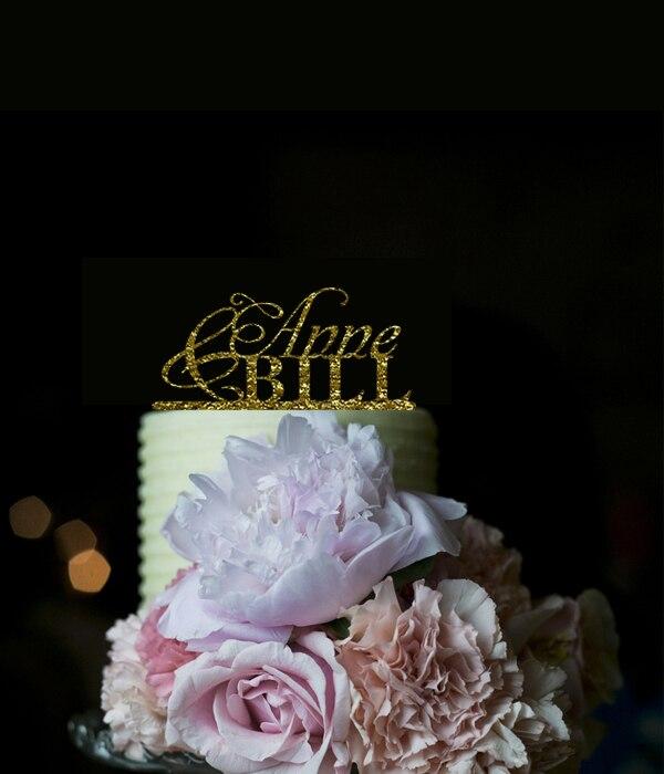 Moda Personalizzare Nome Acrilico Oro Strass Monogram Wedding Decorazione  Wedding Cake Topper 869c9c811db