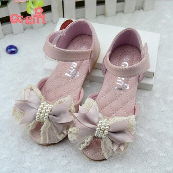 Genuine leather 2016 Children Princess Sandals Kids Girls Wedding Dress Shoes Bowtie Party Shoes For Girls Dropship 330-18