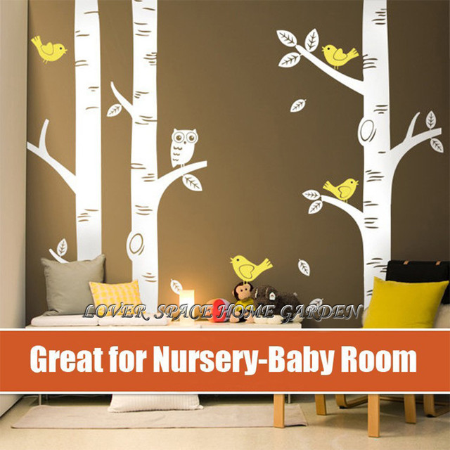 Online Shop TOP Owl Birds Wall Sticker Big Birch Tree Wall - Vinyl wall decals birch tree
