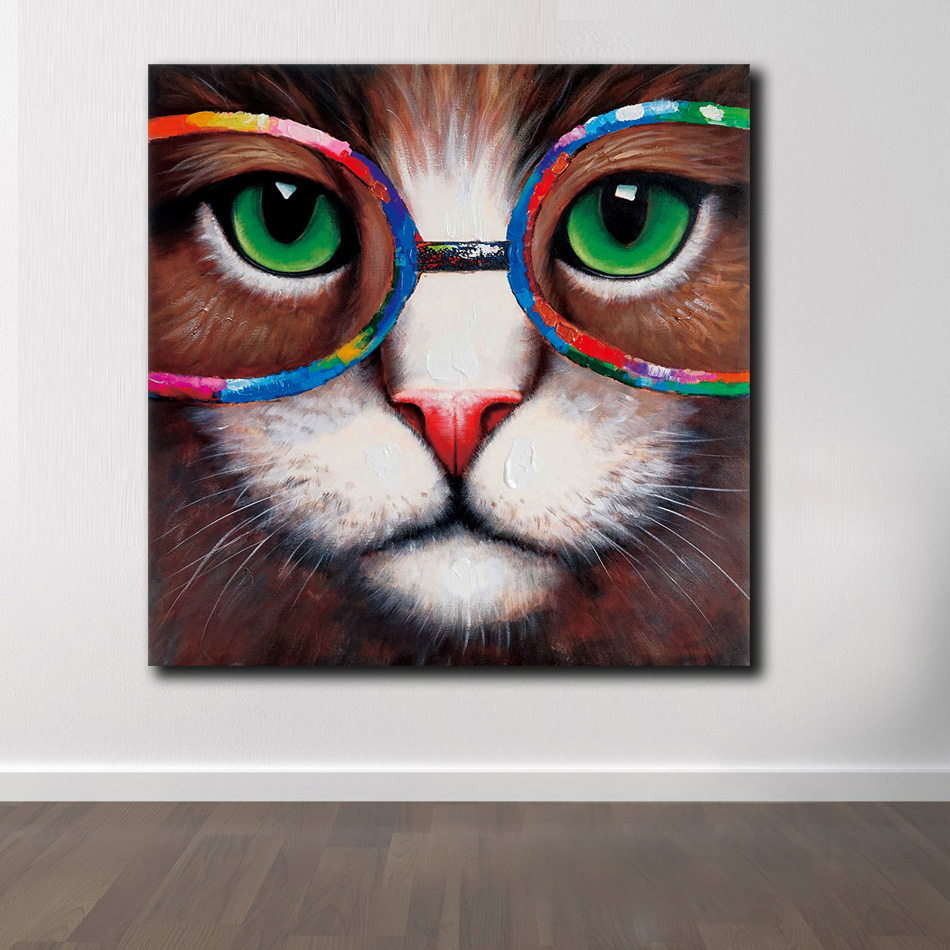 Fashion Pop Art Animal Wall Art Cat Eyes Green With Glasses Oil Painting Poster Print Canvas