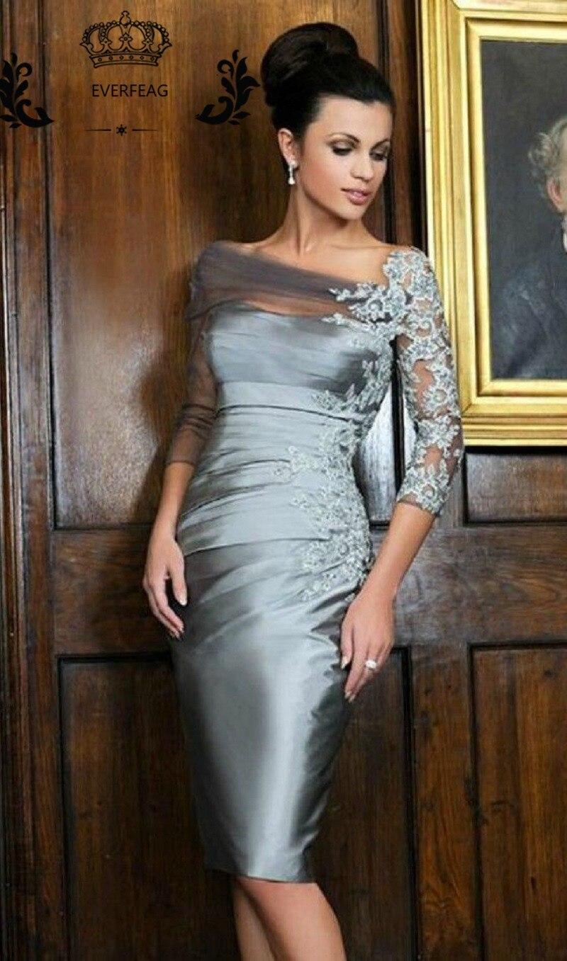 Elegant Sheath Mother of the Bride Dresses Knee Length Sliver Lace ...
