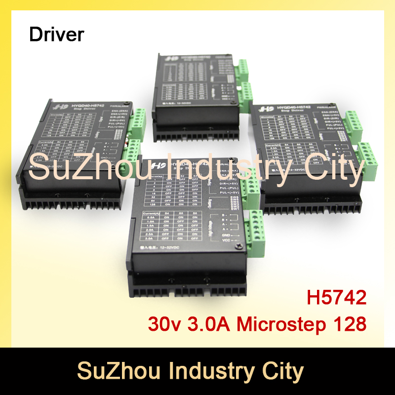 4pcs 3A 12-32VDC 128 Microstep CNC Stepper motor Driver H5742 stepping motor driver for nema17,nema23 stepper motor controller nema23 geared stepping motor ratio 50 1 planetary gear stepper motor l76mm 3a 1 8nm 4leads for cnc router