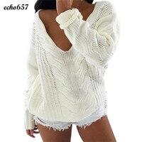 חמה למכירה אופנה נשים סוודר ארוך גברת מעצב חדש Echo657 שרוול V צוואר למעלה רופף בסוודרים סוודר Jumper סריגי דצמבר 5