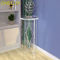 Clear Acrylic Round Pedestal On Cross Panel Base, Lucite Display Stand Table