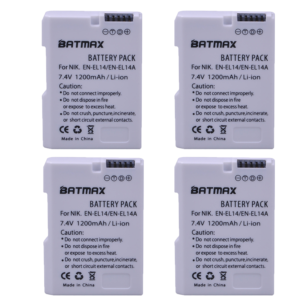 4X EN-EL14 EN-EL14a ENEL14 EL14 1200 mAh Batterie pour Nikon D5600, P7700, P7100, D3400, D5500, D5300, D5200, D3200, D3300, D5100, D3100, Df.