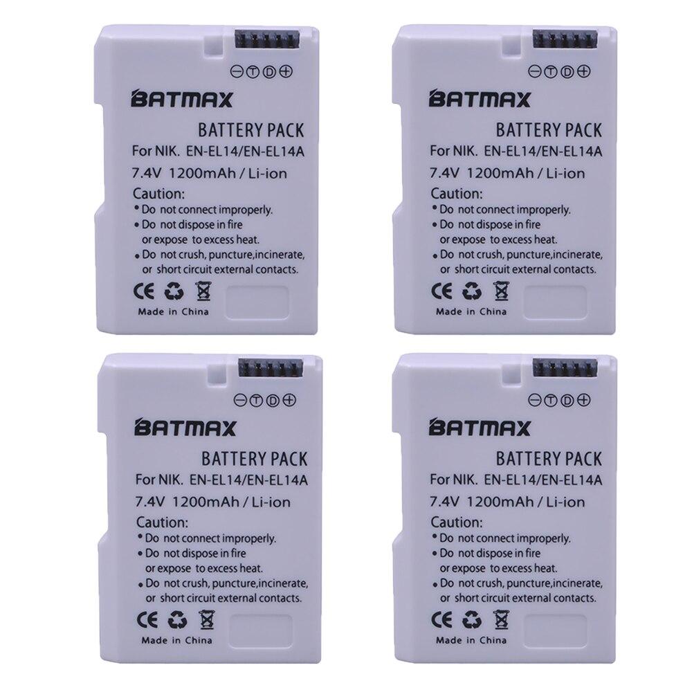 4X EN-EL14 EN-EL14a ENEL14 EL14 1200mAh Battery for Nikon D5600,P7700,P7100,D3400,D5500,D5300,D5200,D3200,D3300,D5100,D3100,Df. цена в Москве и Питере