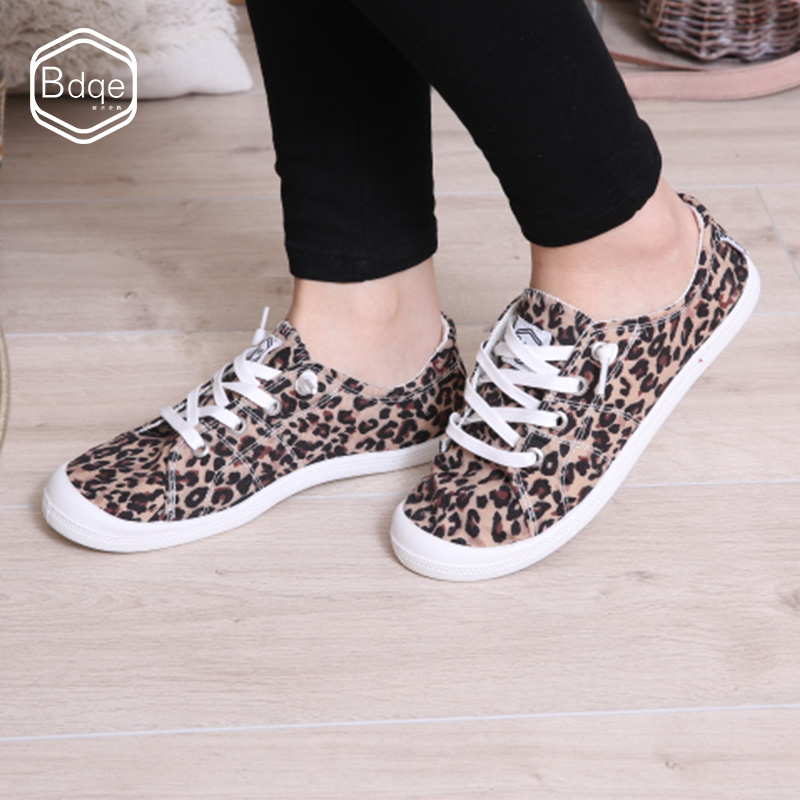 BDQE Women Flats Leopard Lace up Comfort Shoes Ladies Canvas Vulcanized Shoes Female Sneakers Fashion Casual Shoes New