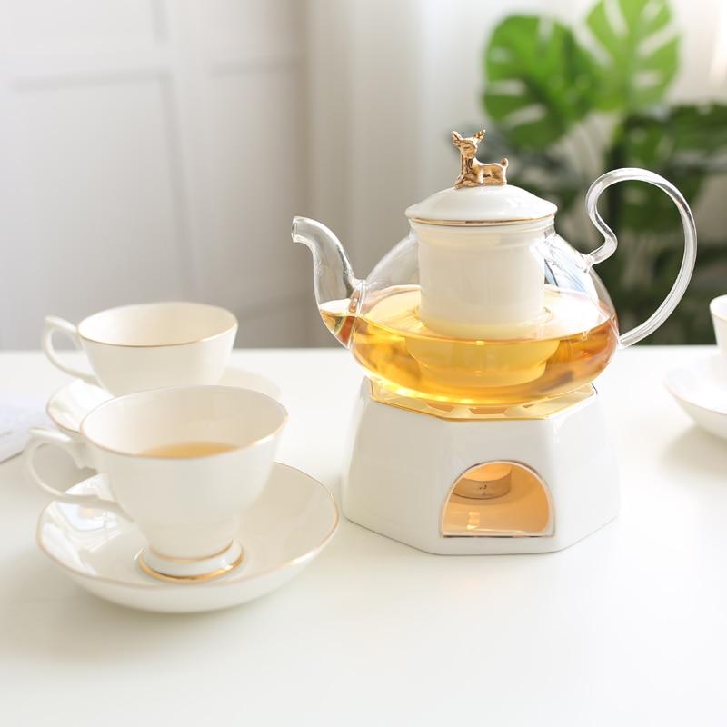 Flower Teapot Sets Drinkware Teapot Candle-heated Base Ceramic Tea Pot Mug Saucer Set