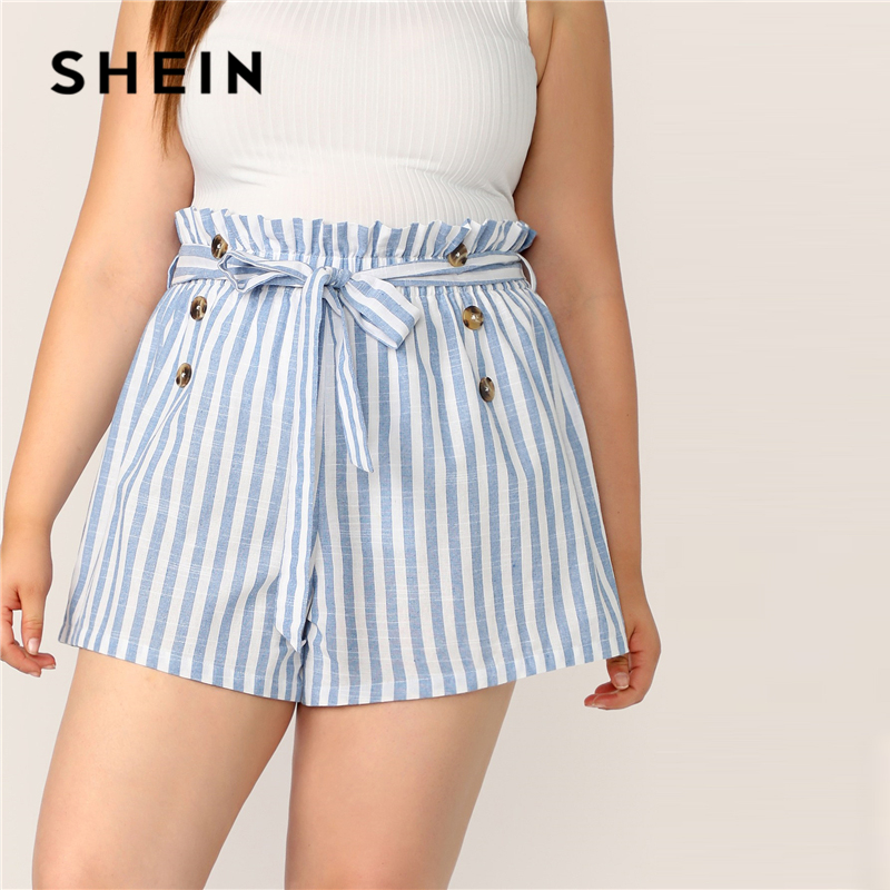 SHEIN Plus Size Blue Paperbag Waist Double Breasted Striped   Shorts   2019 Women Summer Boho Cotton Button Plus   Shorts   With Belt