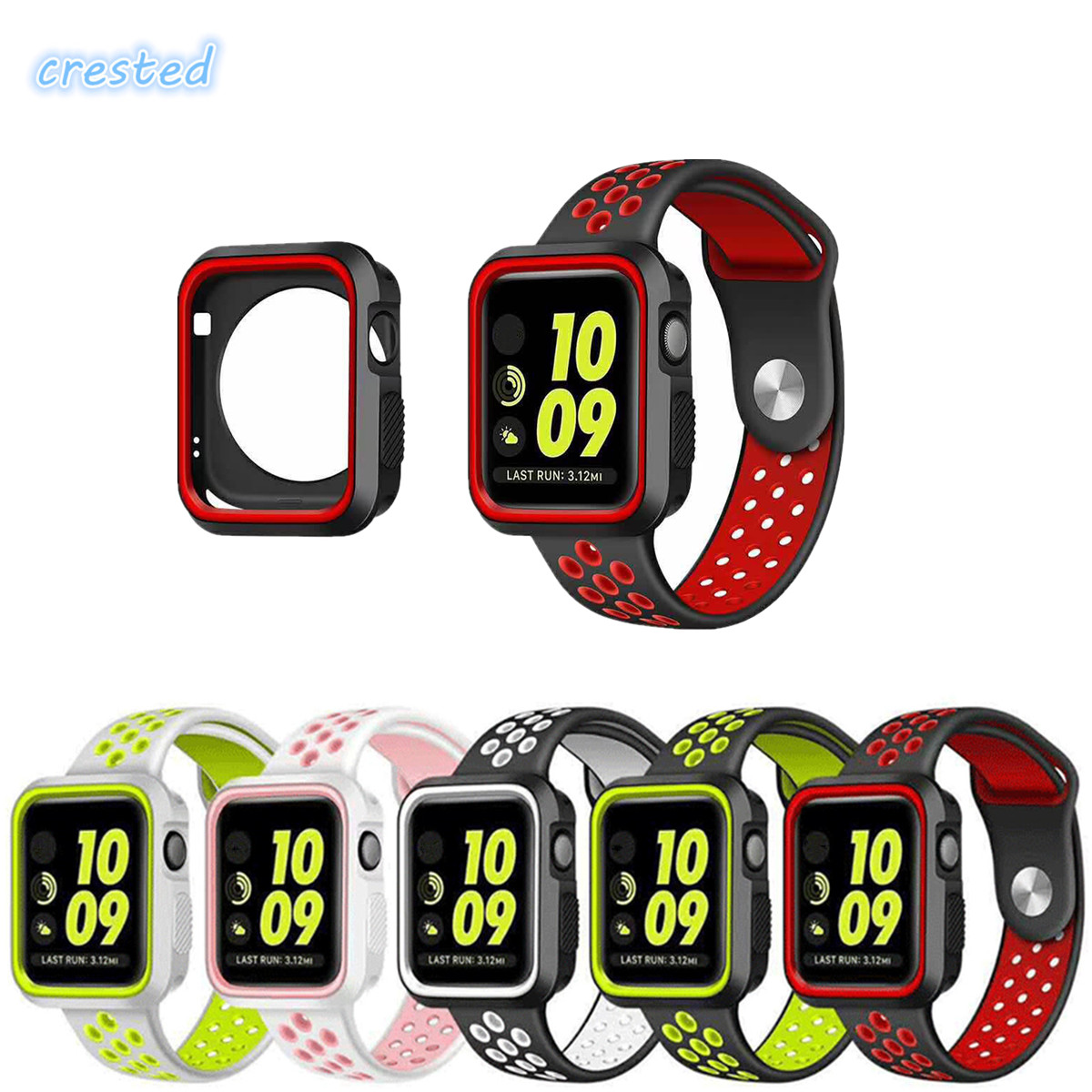 CRESTED sport silicone watch strap for apple watch band 42mm 38mm with full protector case rubber case for iwatch 2/1 38mm eache silicone watch band strap replacement watch band can fit for swatch 17mm 19mm men women