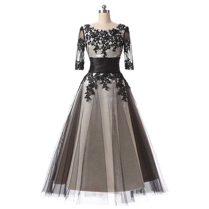 Black cocktail dresses full lace up half sleeve 2017 new for Wedding party dress up