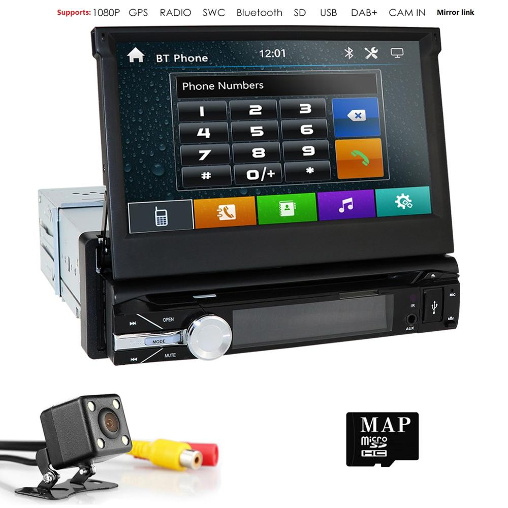 1din 7''Universal lecteur DVD de voiture GPS Navigation voiture stéréo Bluetooth Radio lecteur Audio FM voiture lecteur multimédia Cam Mirror Link