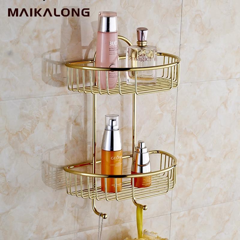 Wand Montiert Beenden NEUE Dual Tier Messing Bad Dusche Regal Badezimmerkorb  Halter NICHT. 1019(