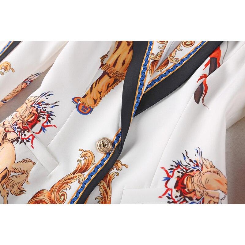 Haute qualité nouvelle mode 2018 Deesigner piste costume ensemble femmes Lion boutons rétro motif imprimé Blazer pantalon costumes - 4