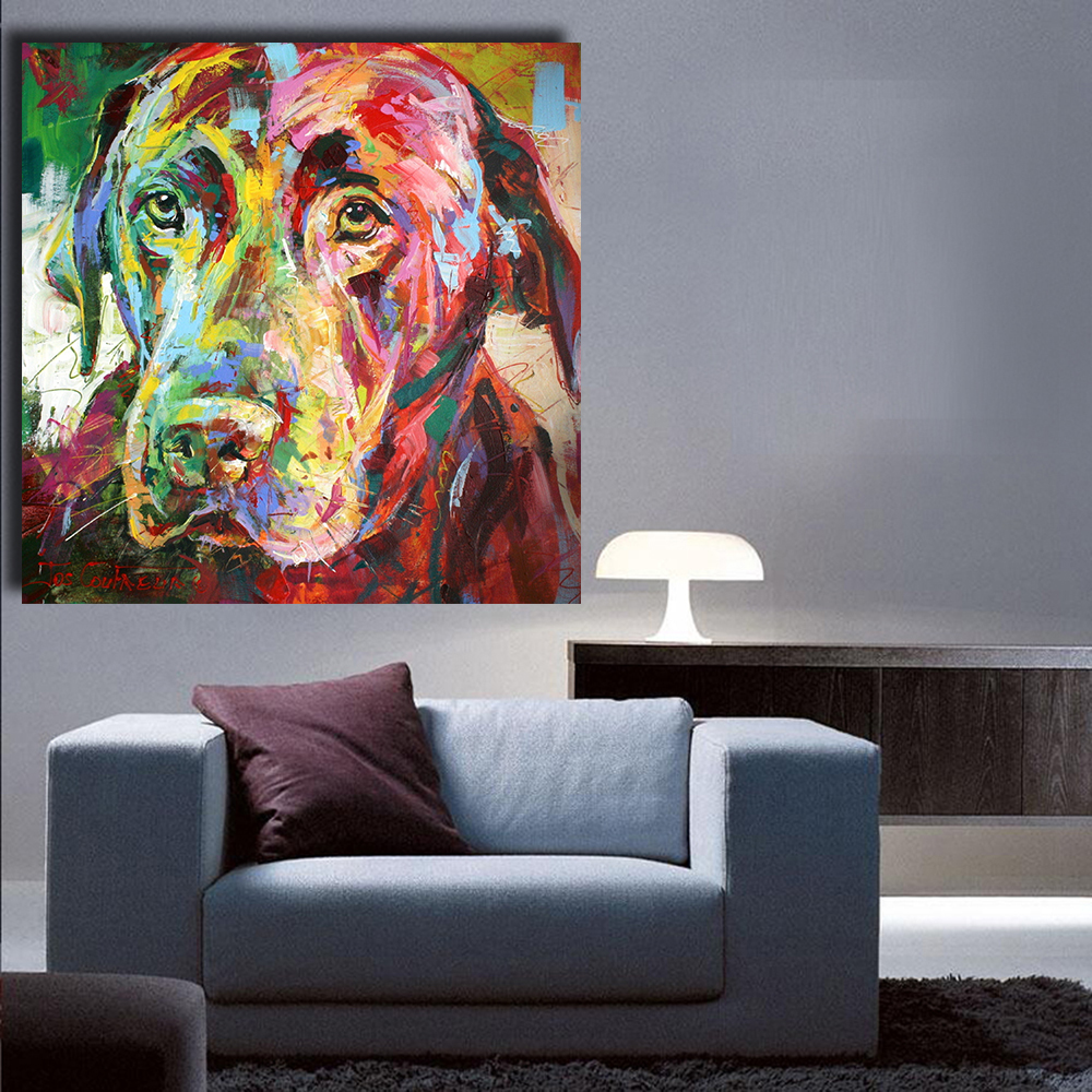 Hdartisan high quality picture black labrador oil painting acrylic on canvas art prints for for Oil painting for living room