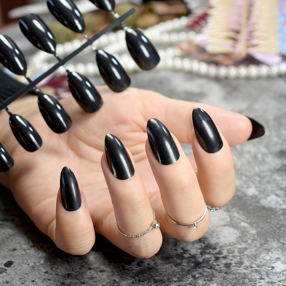 Modern Pointy Fake Nails Composition - Nail Art Ideas - morihati.com