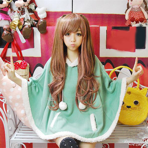 Young Ladies Fleese Ball Tassle Doll Bat Wing Cape